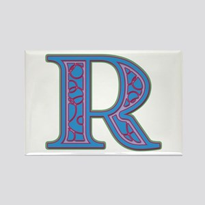 R Blue Glass Rectangle Magnet