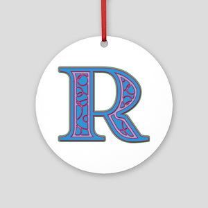 R Blue Glass Round Ornament