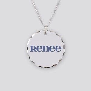 Renee Blue Glass Necklace Circle Charm