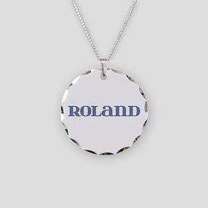 Roland Blue Glass Necklace Circle Charm