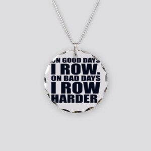 On Good Days I Row. On Bad D Necklace Circle Charm