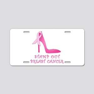 Pink Stiletto Stamp Out Breast Cancer Aluminum Lic