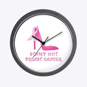 Pink Stiletto Stamp Out Breast Cancer Wall Clock