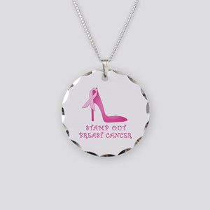 Pink Stiletto Stamp Out Breast Cancer Necklace Cir
