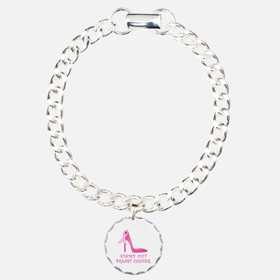 Pink Stiletto Stamp Out Breast Cancer Charm Bracel