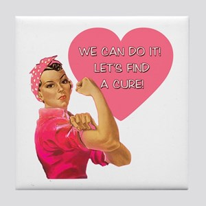 Rosie the Riveter Breast Cancer Tile Coaster