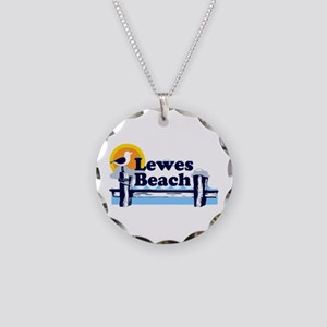 Lewes Beach DE - Pier Design. Necklace Circle Char