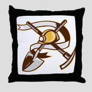 coal miner hardhat Throw Pillow
