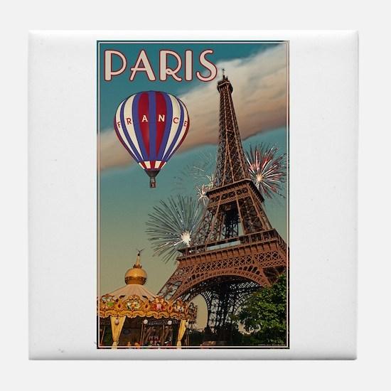 Vintage Eiffel Tower Tile Coaster