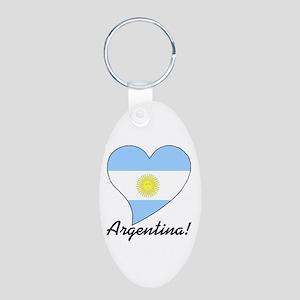 Heart Argentina (World) Aluminum Oval Keychain