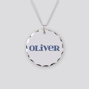 Oliver Blue Glass Necklace Circle Charm