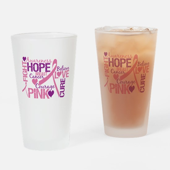 Breast Cancer Words Drinking Glass