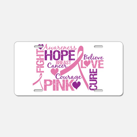Breast Cancer Words Aluminum License Plate