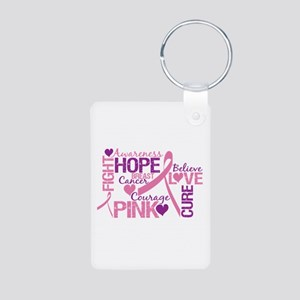 Breast Cancer Words Aluminum Photo Keychain