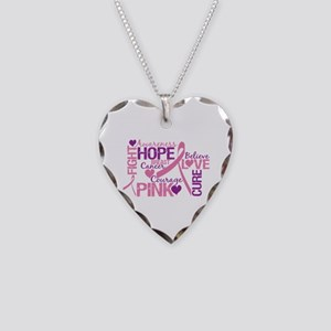 Breast Cancer Words Necklace Heart Charm