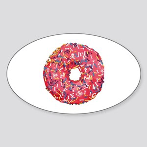 Skull &Bone Sprinkle Donut Sticker (Oval)