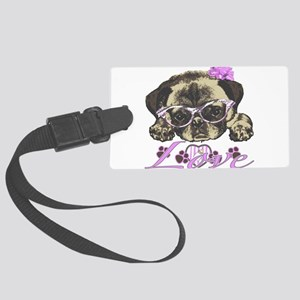Pug in pink Large Luggage Tag
