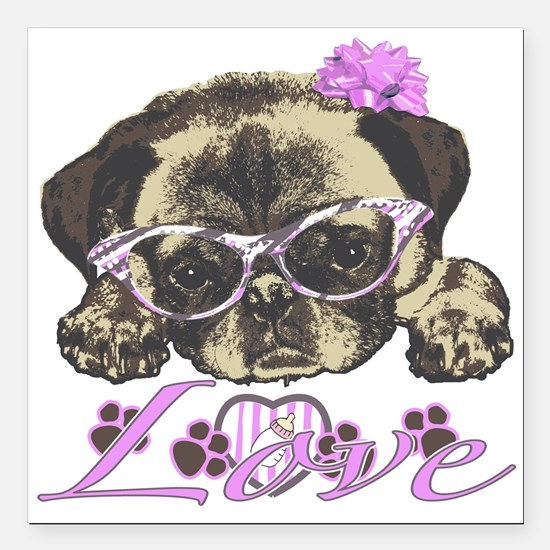 """Pug in pink Square Car Magnet 3"""" x 3"""""""