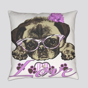 Pug in pink Everyday Pillow