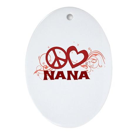 Peace Love Nana Ornament (Oval)