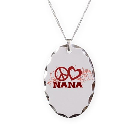 Peace Love Nana Necklace Oval Charm