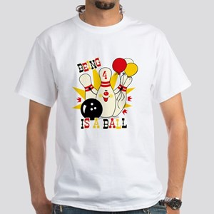 Cute Bowling Pin 4th Birthday White T-Shirt