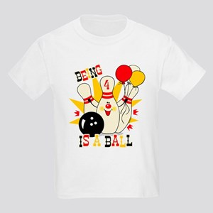 Cute Bowling Pin 4th Birthday Kids Light T-Shirt