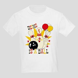 Cute Bowling Pin 4th Birthday Kids Light T-Shirt