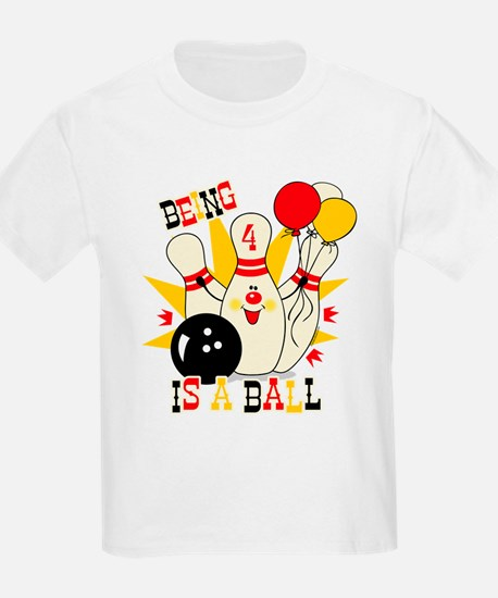 Cute Bowling Pin 4th Birthday T-Shirt