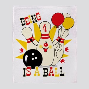 Cute Bowling Pin 4th Birthday Throw Blanket