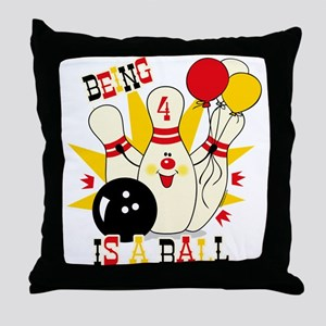 Cute Bowling Pin 4th Birthday Throw Pillow