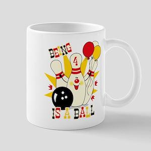 Cute Bowling Pin 4th Birthday Mug