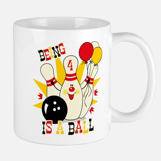 Cute Bowling Pin 4th Birthday Mug