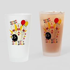 Cute Bowling Pin 4th Birthday Drinking Glass