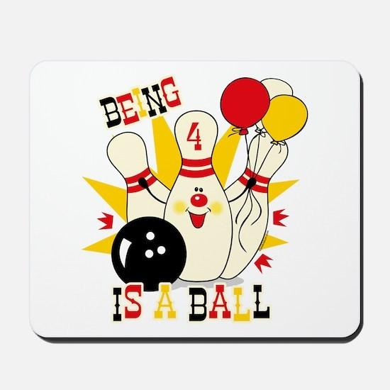 Cute Bowling Pin 4th Birthday Mousepad