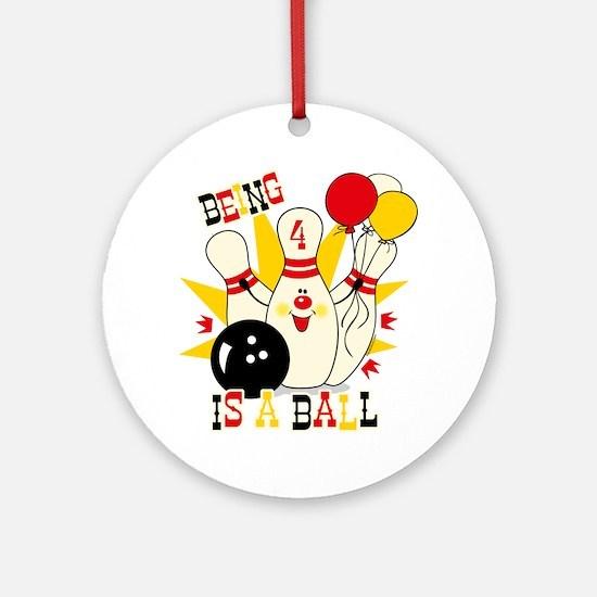 Cute Bowling Pin 4th Birthday Ornament (Round)
