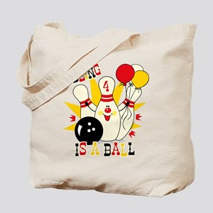 Cute Bowling Pin 4th Birthday Tote Bag