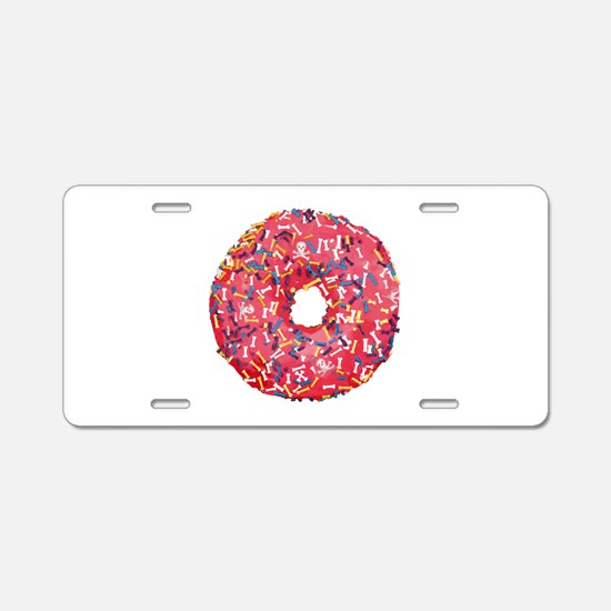 Skull &Bone Sprinkle Donut Aluminum License Plate