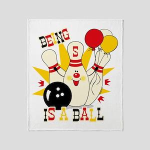Cute Bowling Pin 5th Birthday Throw Blanket