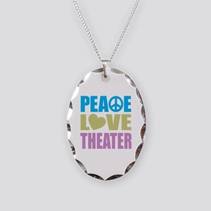 Peace Love Theater Necklace Oval Charm