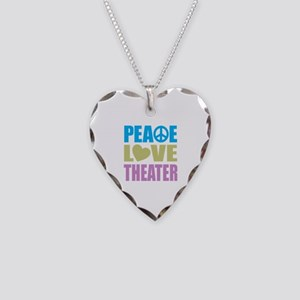 Peace Love Theater Necklace Heart Charm