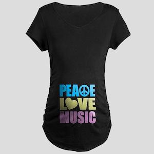Peace Love Music Maternity Dark T-Shirt
