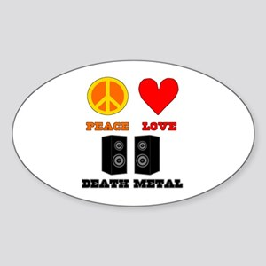 Peace Love Death Metal Sticker (Oval)