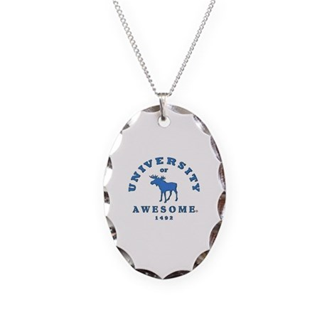 AWESOME UNIVERSITY Necklace Oval Charm