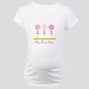 Pink Ribbon Personalized Breast Cancer Maternity T