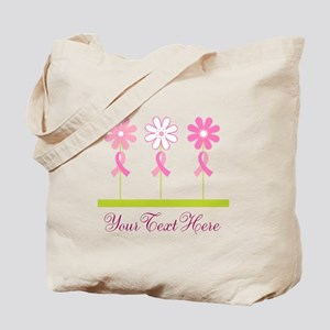 Pink Ribbon Personalized Breast Cancer Tote Bag