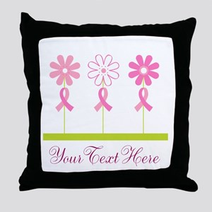 Pink Ribbon Personalized Breast Cancer Throw Pillo
