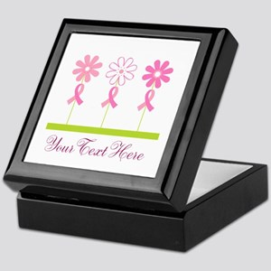 Pink Ribbon Personalized Breast Cancer Keepsake Bo