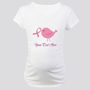 Personalized Pink Cancer Bird Maternity T-Shirt