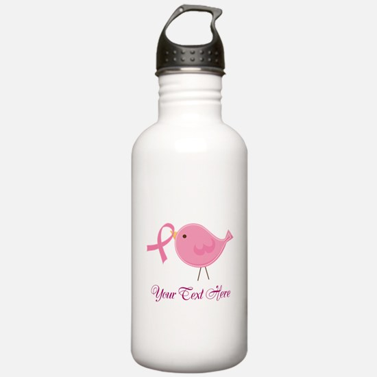 Personalized Pink Cancer Bird Water Bottle